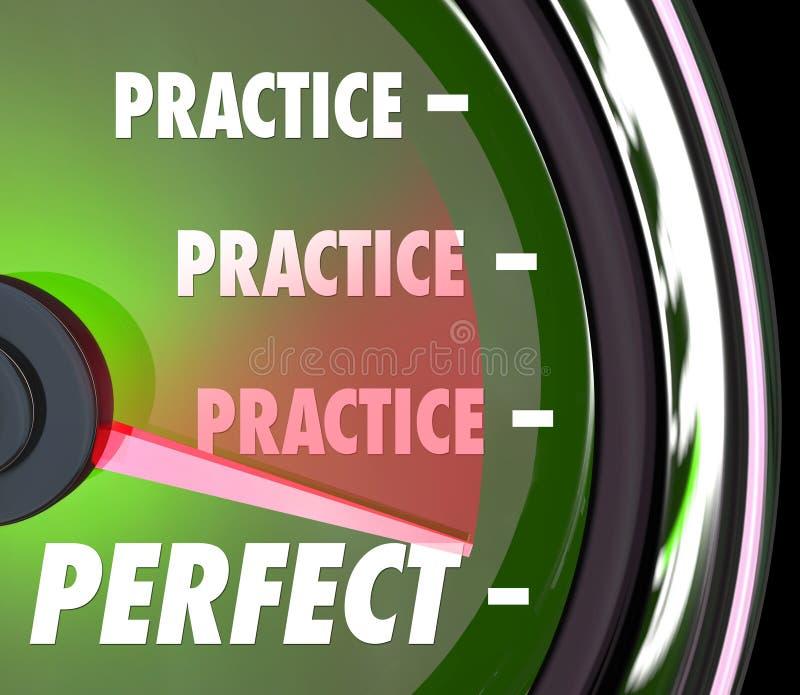 Übung macht den Meister Geschwindigkeitsmesser-Messgerät-Maßnahme Leistungs-pro stock abbildung