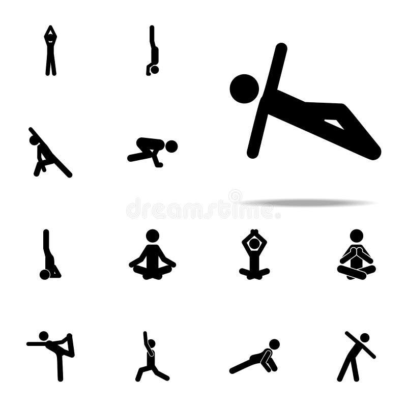 Übung, Mannikone Yogaikonen-Universalsatz für Netz und Mobile lizenzfreie abbildung
