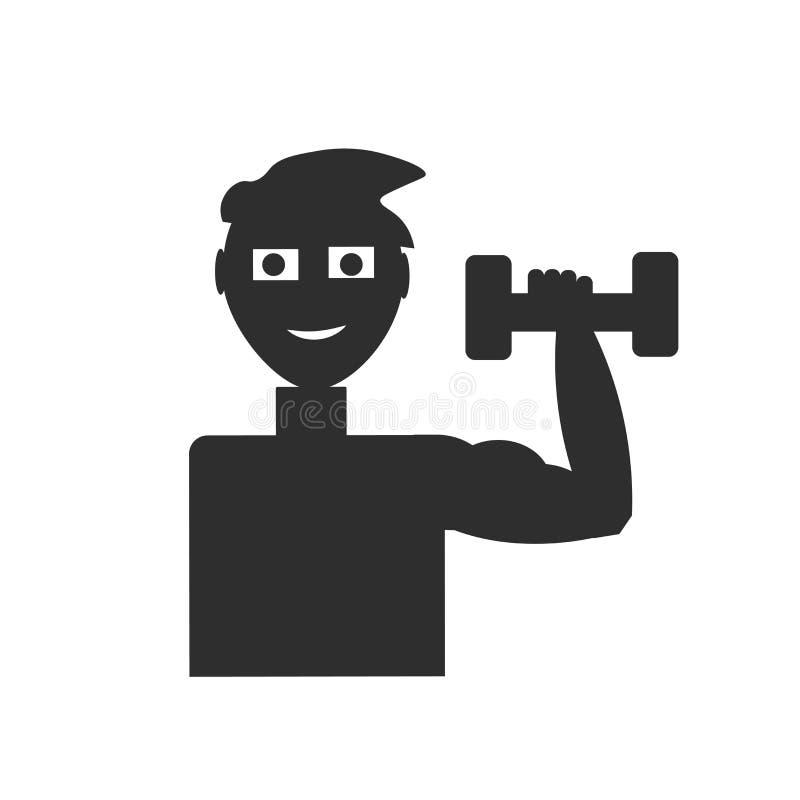 Übung mit Dummkopfikonen-Vektorzeichen und Symbol lokalisiert auf weißem Hintergrund, Übung mit Dummkopflogokonzept lizenzfreie abbildung