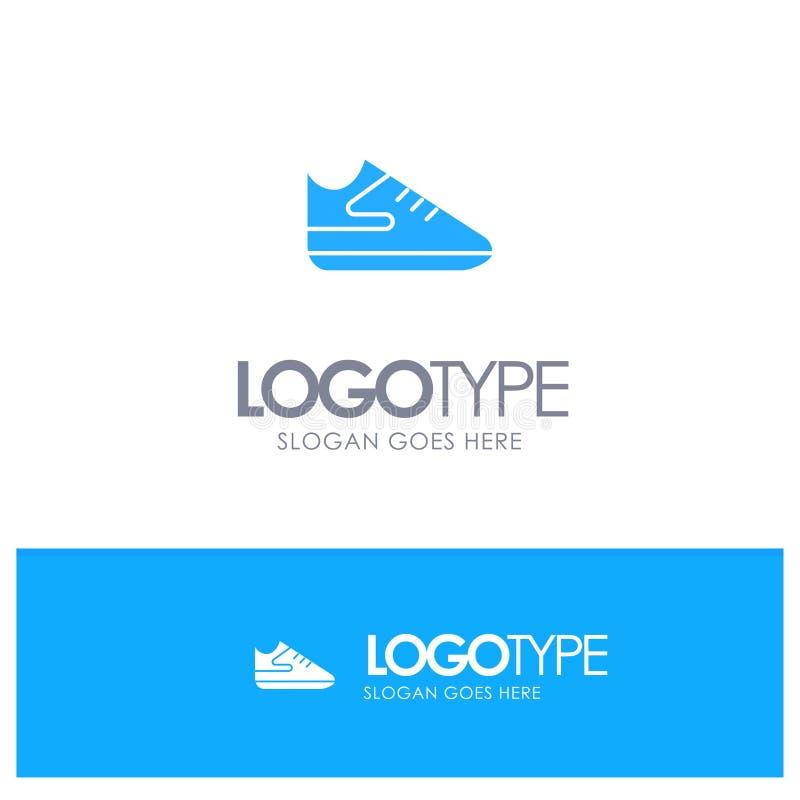 Übung, Schuhe, Sport-blaues festes Logo mit Platz für Tagline stock abbildung