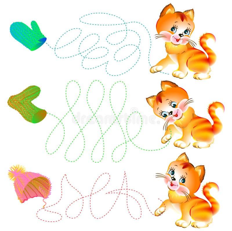 Übungen für Kleinkinder - müssen Sie die Linien zeichnen lizenzfreie abbildung
