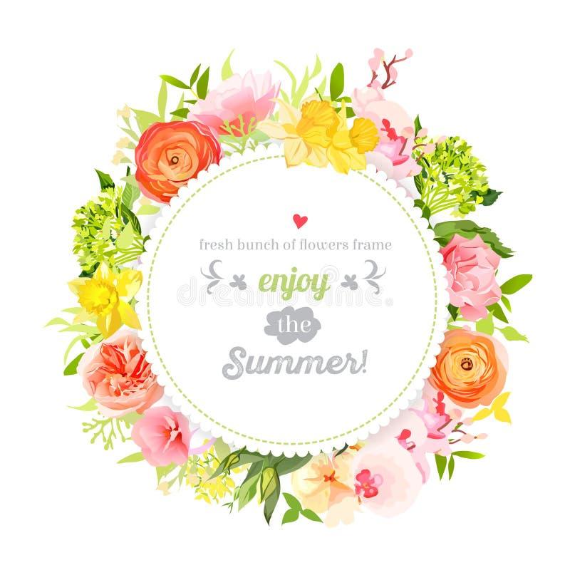 Üppiger heller Sommerblumenvektor-Designrahmen Bunte Blumengegenstände stock abbildung