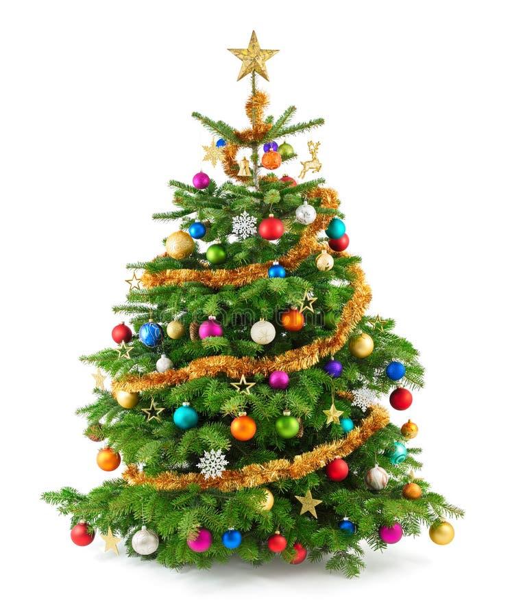 Üppiger Weihnachtsbaum mit bunten Verzierungen stockfotografie