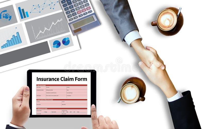 ŻĄDANIA ubezpieczenia zdrowotnego forma, Biznesowy pojęcie, ubezpieczonym żądania fotografia stock