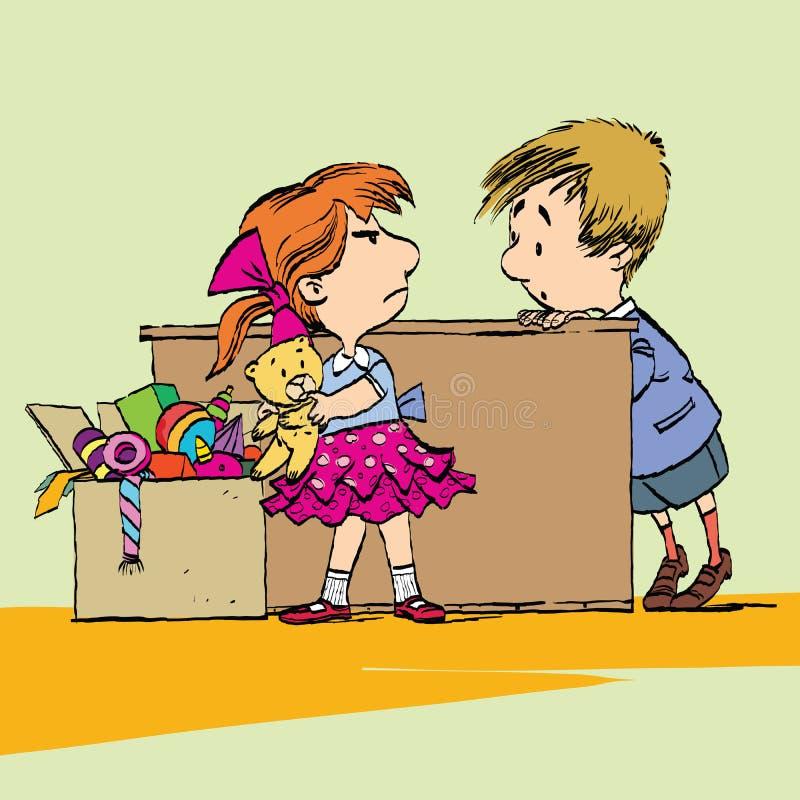 Żądna dziewczyna z zabawką i chłopiec royalty ilustracja