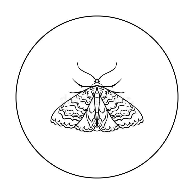 Ćma ikona w konturu stylu odizolowywającym na białym tle Insekta symbolu zapasu wektoru ilustracja royalty ilustracja