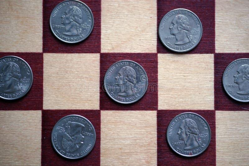 Ćwiartki na chessboard zdjęcia royalty free