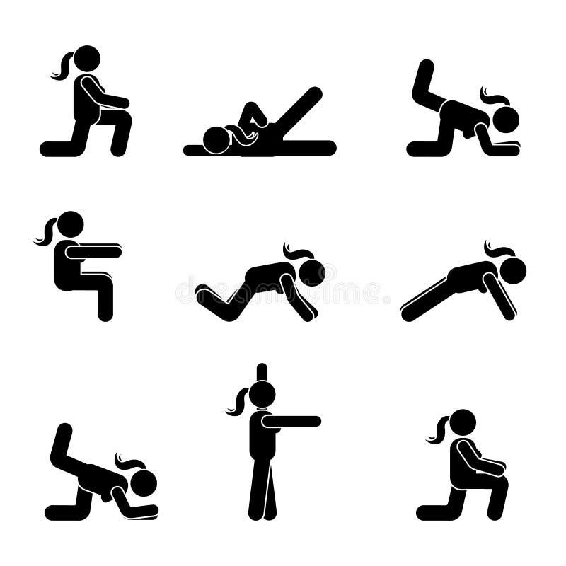 Ćwiczenia ciała treningu rozciągania kobiety kija postać Zdrowy życie stylu wektoru piktogram royalty ilustracja