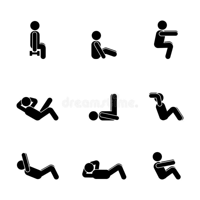 Ćwiczenia ciała treningu rozciągania mężczyzna kija postać Zdrowy życie stylu wektorowy ilustracyjny piktogram royalty ilustracja