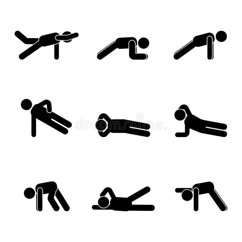 Ćwiczenia ciała treningu rozciągania mężczyzna kija postać Zdrowy życie stylu wektorowy ilustracyjny piktogram ilustracji