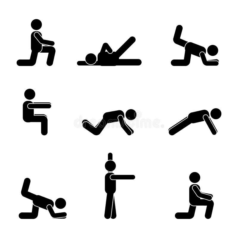 Ćwiczenia ciała treningu rozciągania mężczyzna kija postać Zdrowy życie stylu wektoru piktogram ilustracja wektor