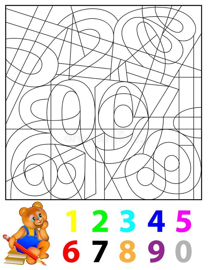 Ćwiczenia dla dzieci - potrzeba znajdować chowane liczby i malować one w istotnych kolorach royalty ilustracja