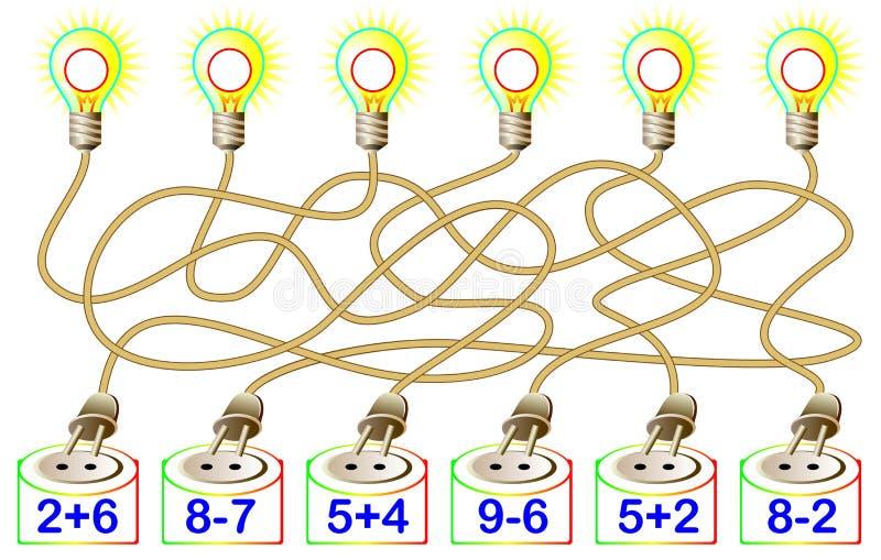 Ćwiczenia dla dzieci - potrzebuje rozwiązywać przykłady i pisać odpowiedziach na koresponduje lampach ilustracja wektor