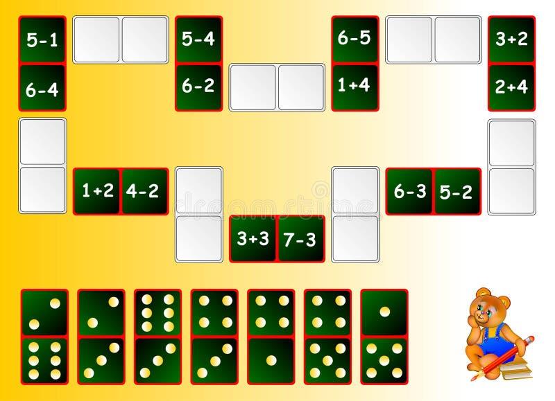Ćwiczenia dla dzieci - potrzeby rozwiązywać przykłady i rysować pozostałych domina przy poprawnymi miejscami zamykać obwód ilustracji