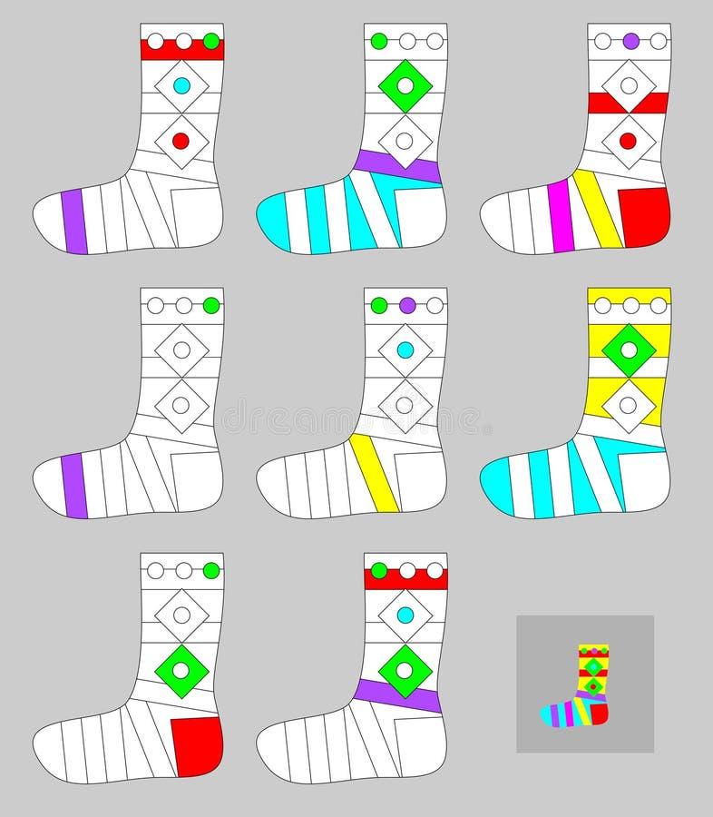 Ćwiczenia dla młodych dzieci - potrzebuje malować wszystkie skarpety ten sam kolorami ilustracja wektor
