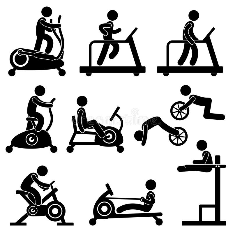 ćwiczenia sprawności fizycznej gym sala gimnastycznej stażowy trening ilustracja wektor