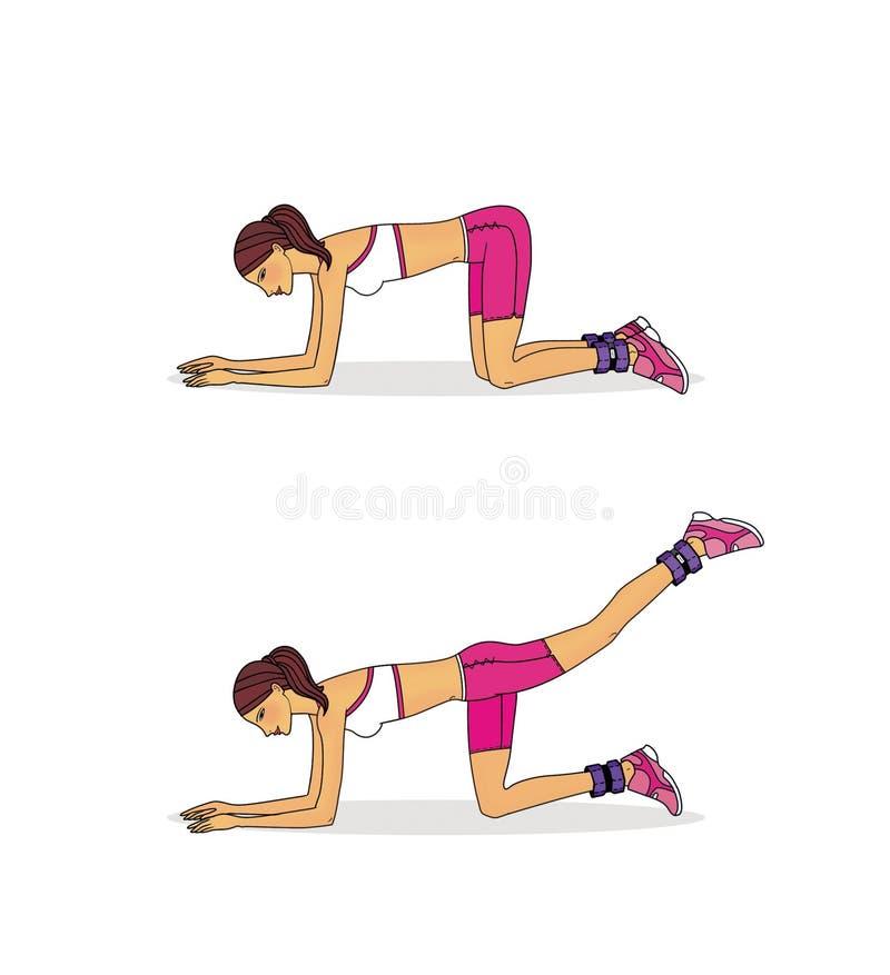 Ćwiczenia umacniać mięśnie pośladki i nogi używać z ważącym agentem pojedynczy bia?e t?o royalty ilustracja
