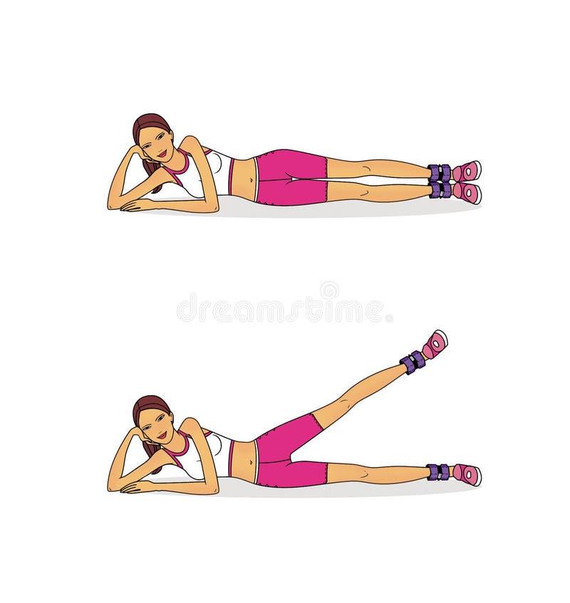 Ćwiczenia umacniać nogi używać z ważącym agentem pojedynczy bia?e t?o ilustracji