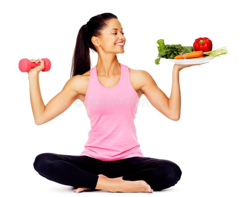 ćwiczenia warzywa kobieta zdjęcie stock
