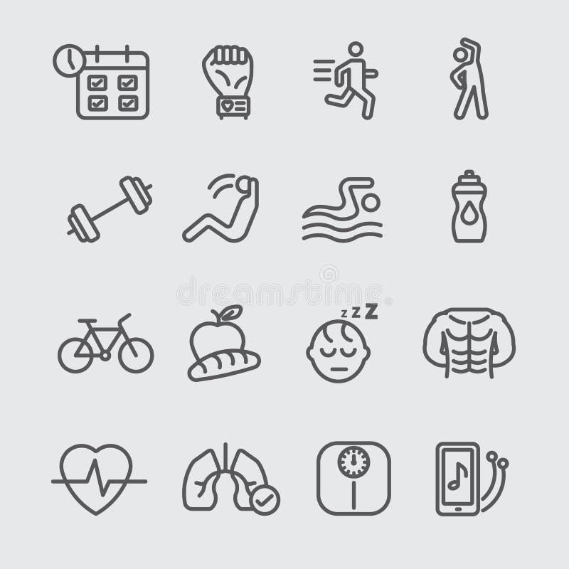 Ćwiczenie kreskowa ikona ilustracja wektor