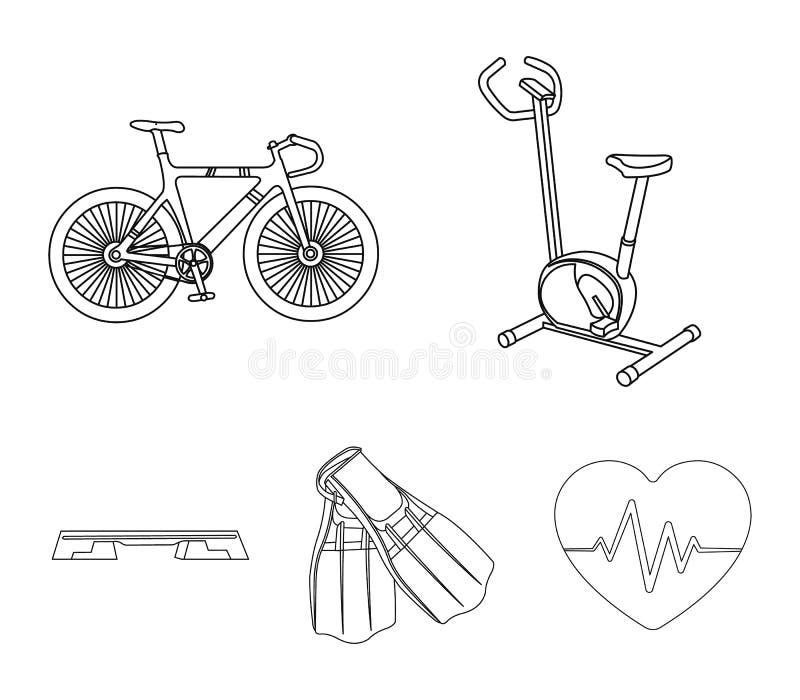 Ćwiczenie rower, bicykl, żebra dla pływać, sprawności fizycznej ławka Sport ustalone inkasowe ikony w konturze projektują wektoro ilustracja wektor