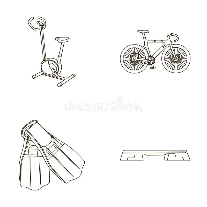 Ćwiczenie rower, bicykl, żebra dla pływać, sprawności fizycznej ławka Sport ustalone inkasowe ikony w konturze projektują wektoro royalty ilustracja