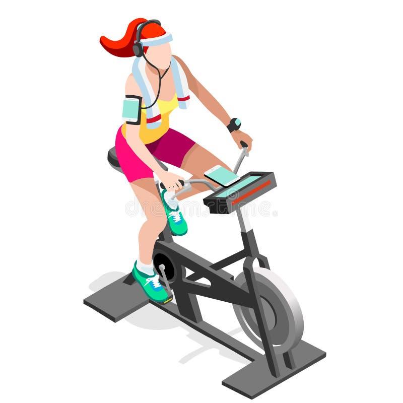 Ćwiczenie roweru sprawności fizycznej Przędzalniana klasa 3D sprawności fizycznej Płaski Isometric Przędzalniany rower royalty ilustracja