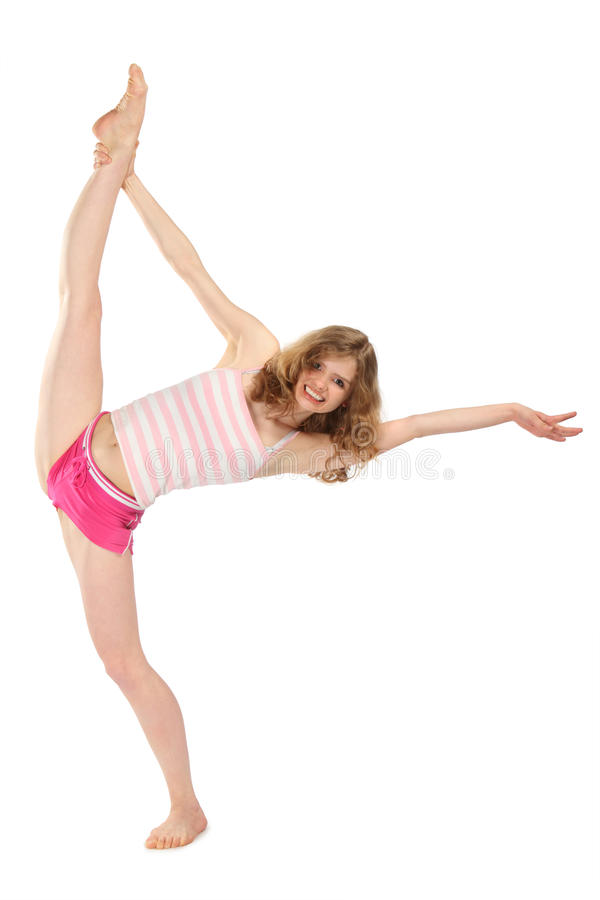 ćwiczy dziewczyny sportswear gimnastycznego szczęśliwego obraz stock