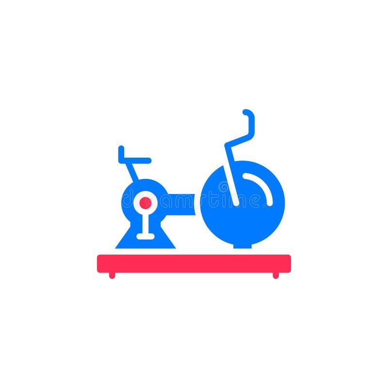 Ćwiczy, Stacjonarny rower ikony wektor, wypełniający mieszkanie znak, stały kolorowy piktogram odizolowywający na bielu ilustracji