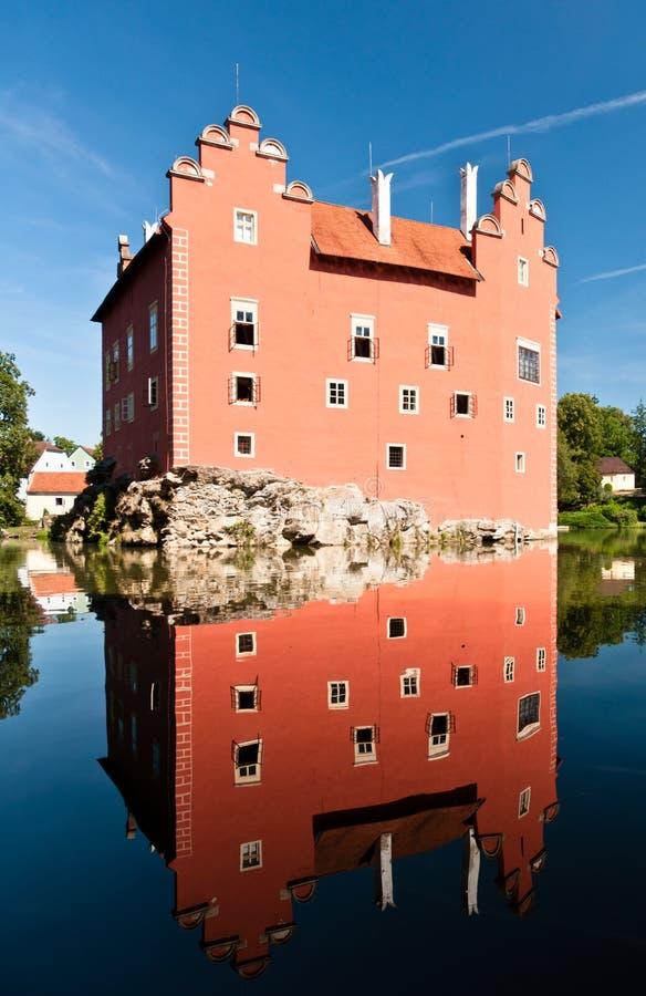 Červená Lhota Castle reflection. In pond stock photo