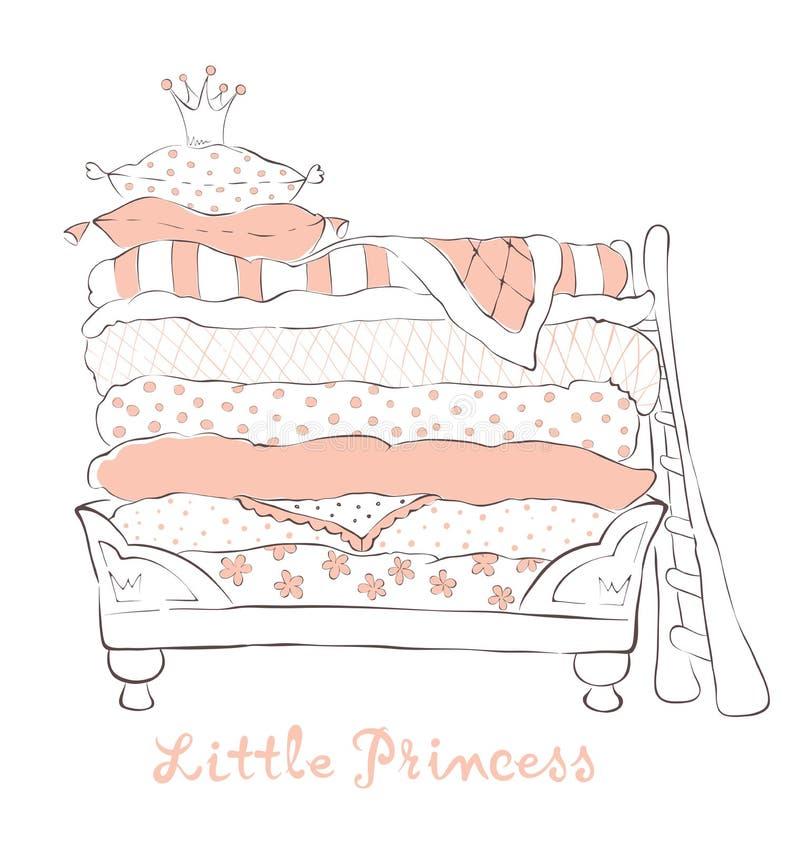 Łóżko dla małego Princess na grochu ilustracja wektor