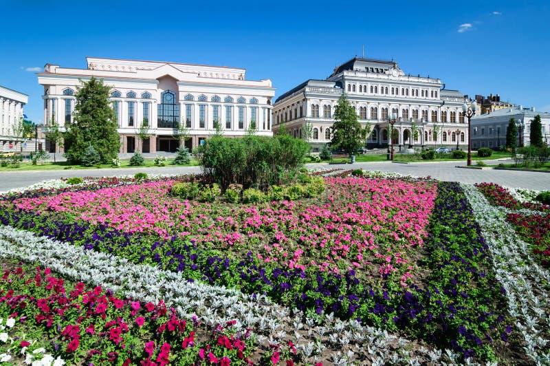 Łóżko kwiaty przy swoboda kwadratem miasto Kazan zdjęcie stock