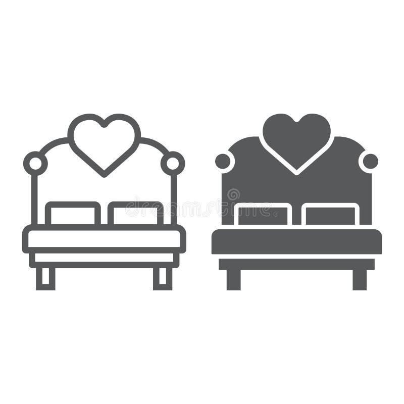 Łóżko miłosne z linią serca i ikoną glifu, walentynką i świętem, znakiem łóżkowym, grafiką wektorową, liniowym wzorkiem na biało obrazy stock