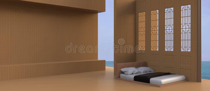 Łóżko Plażowego i Dennego widoku - Nowożytny, Pokojowy luksusowy wakacje w azjacie/ ilustracji