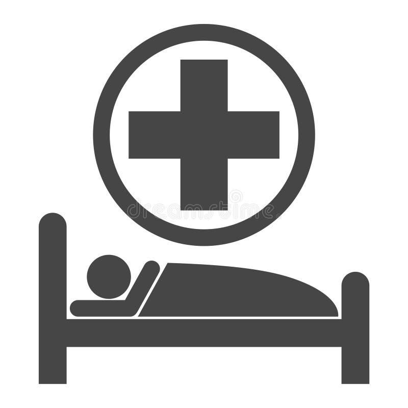 Łóżko szpitalne ikona royalty ilustracja