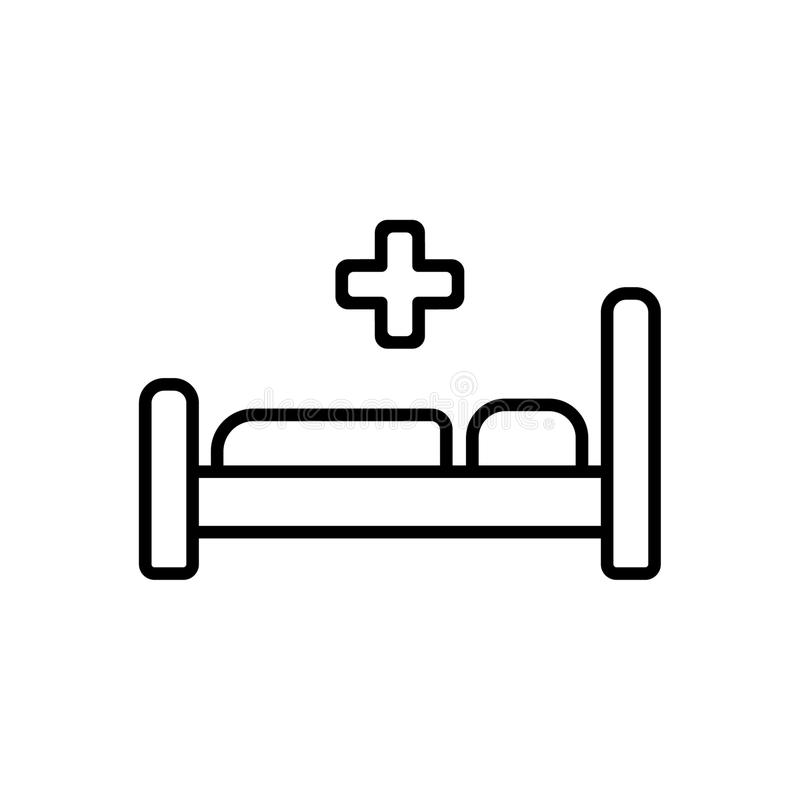 Łóżko szpitalne ikony symbol Płaska wektorowa ilustracja royalty ilustracja