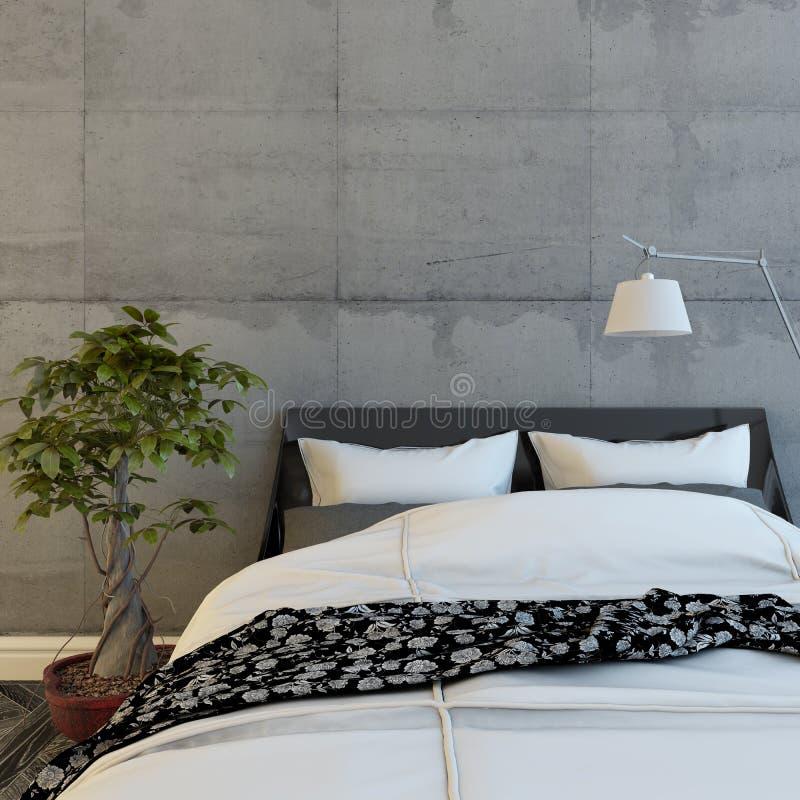 Łóżko W Nowożytnym Betonowym pokoju royalty ilustracja