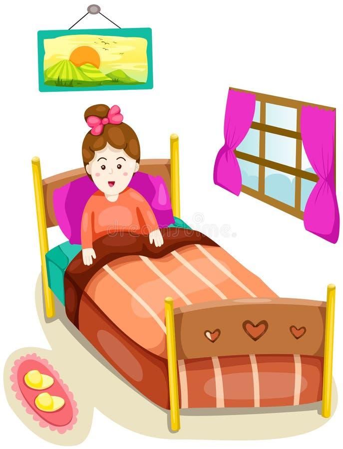 łóżkowa śliczna dziewczyna royalty ilustracja