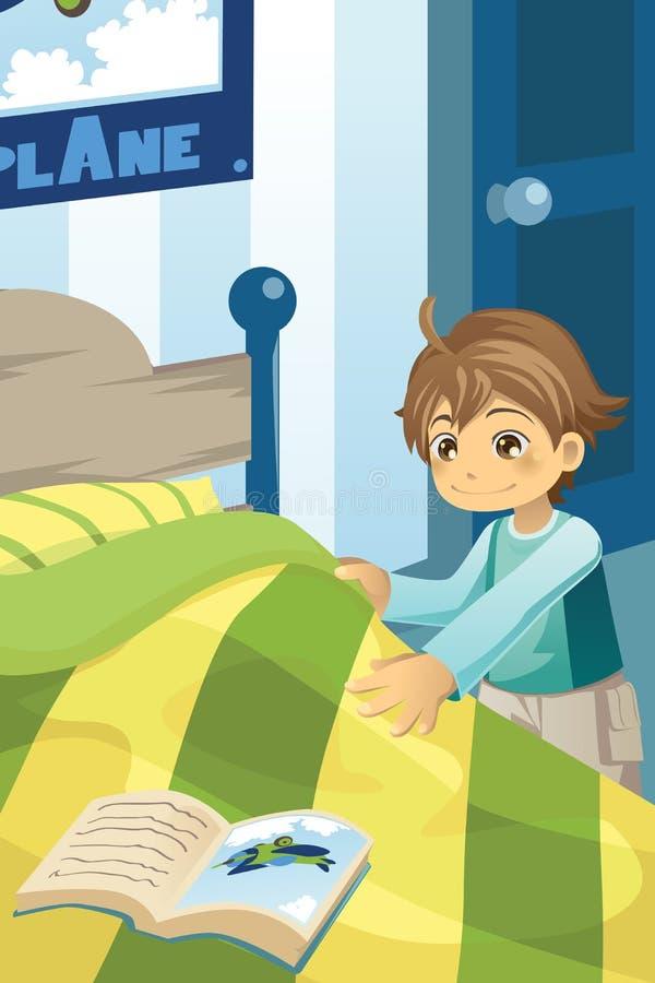 łóżkowa chłopiec jego robienie ilustracja wektor