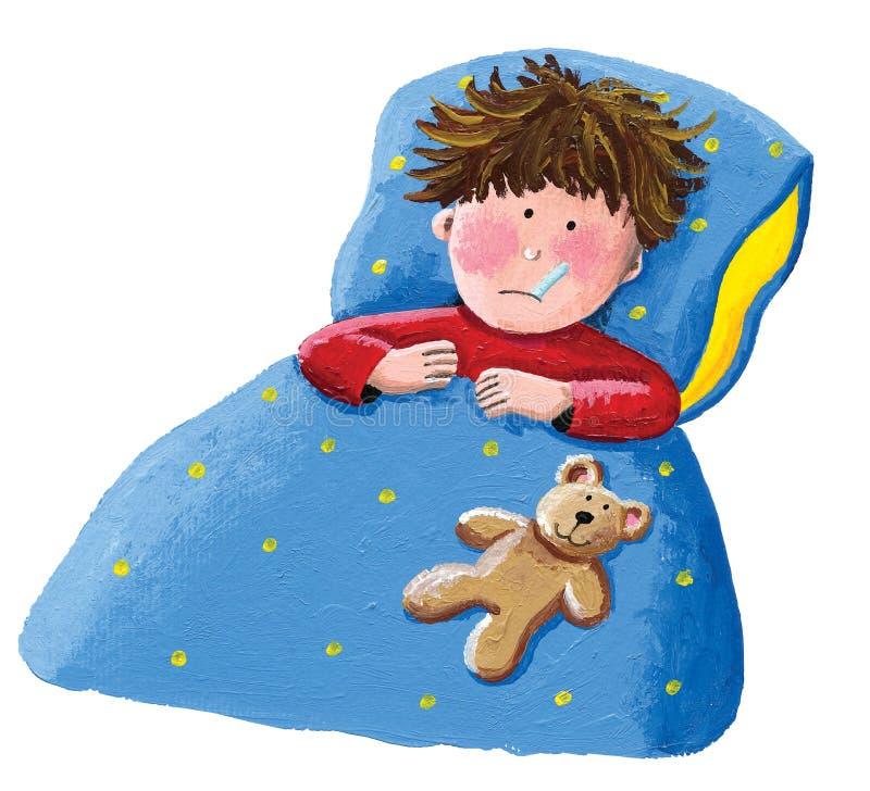 łóżkowej chłopiec łgarska choroba ilustracji