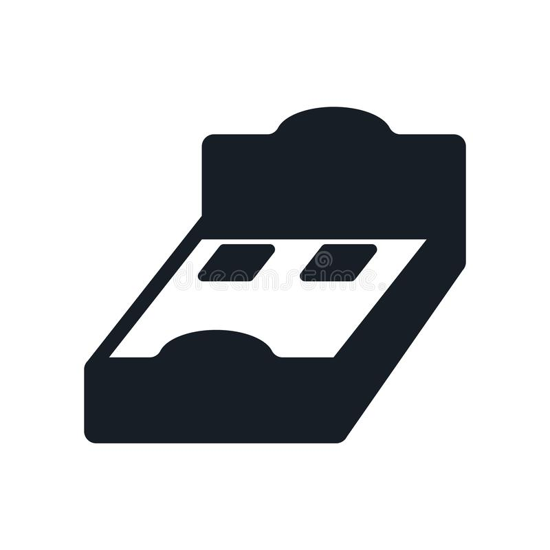 Łóżkowy 3D widoku ikony wektoru znak i symbol odizolowywający na białym tle, Łóżkowy 3D widoku logo pojęcie royalty ilustracja