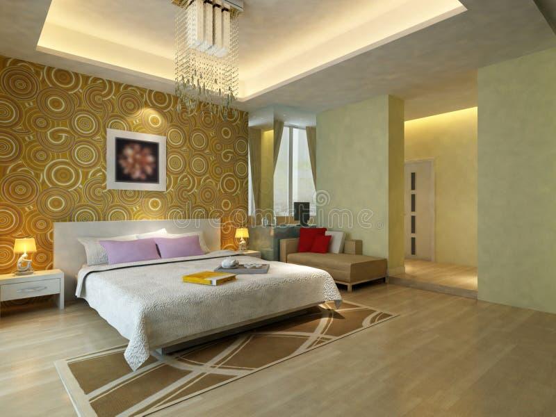 Łóżkowy pokój ilustracji