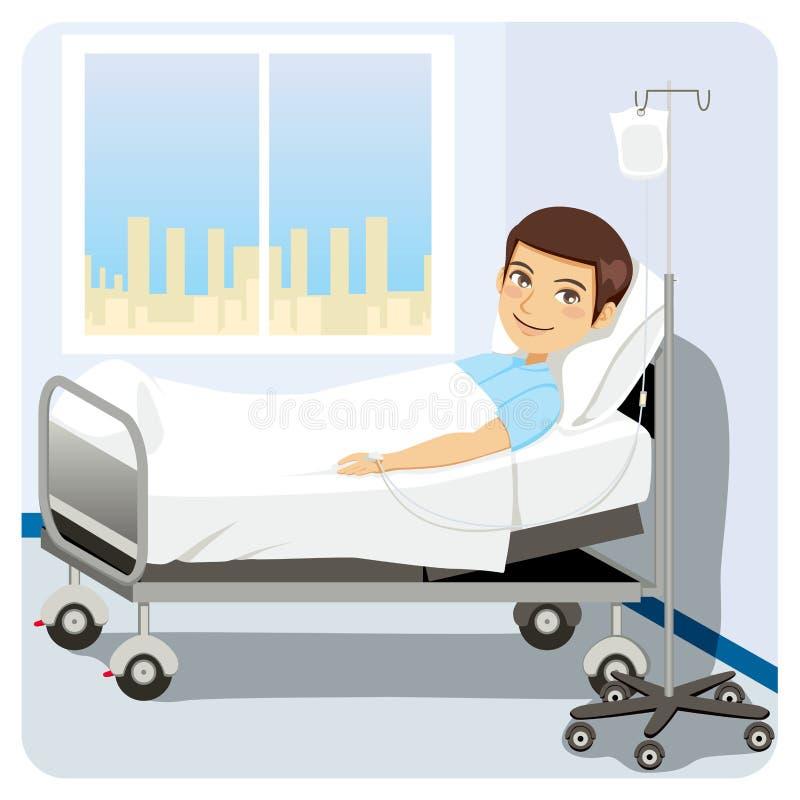 łóżkowy szpitalny mężczyzna ilustracja wektor