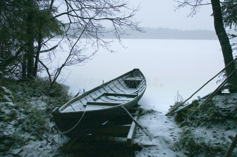 łódź śnieg obrazy royalty free