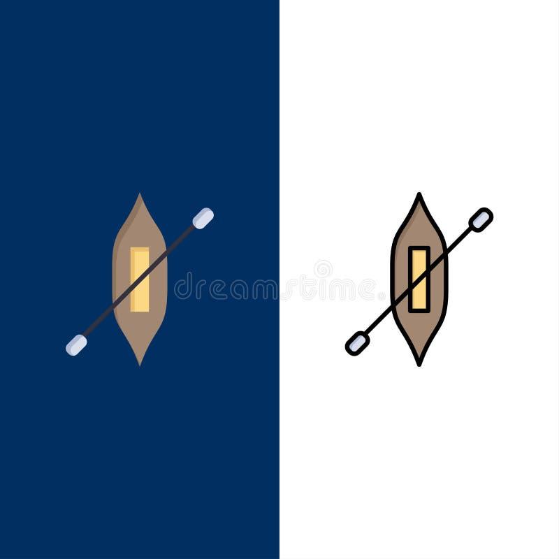 Łódź, czółno, kajak, statek ikony Mieszkanie i linia Wypełniający ikony Ustalony Wektorowy Błękitny tło ilustracji