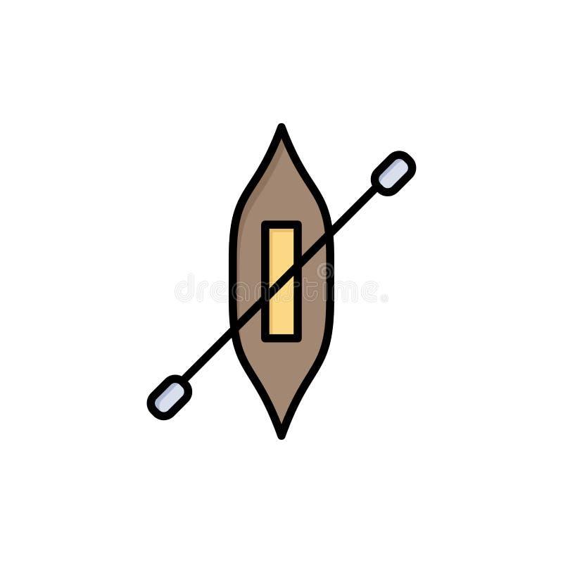 Łódź, czółno, kajak, statku koloru Płaska ikona Wektorowy ikona sztandaru szablon royalty ilustracja