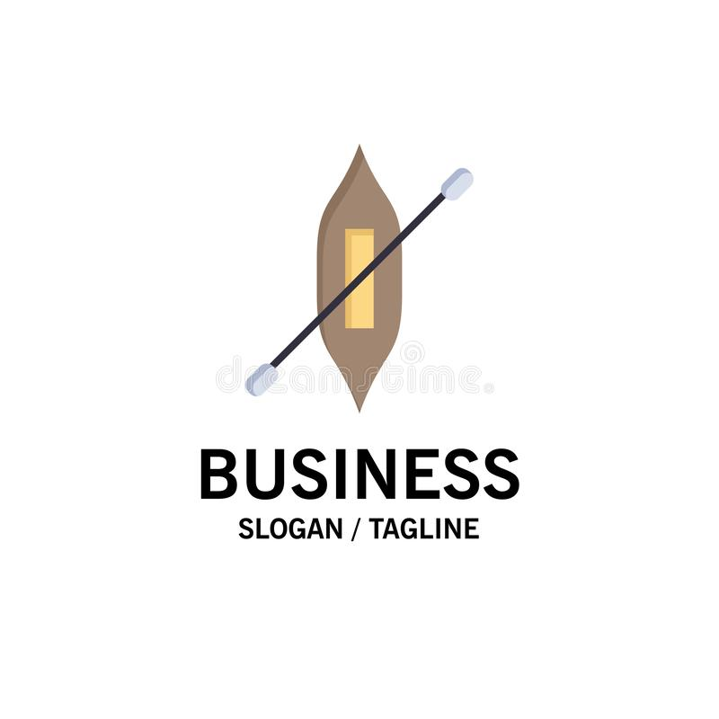 Łódź, czółno, kajak, statku logo Biznesowy szablon p?aski kolor royalty ilustracja
