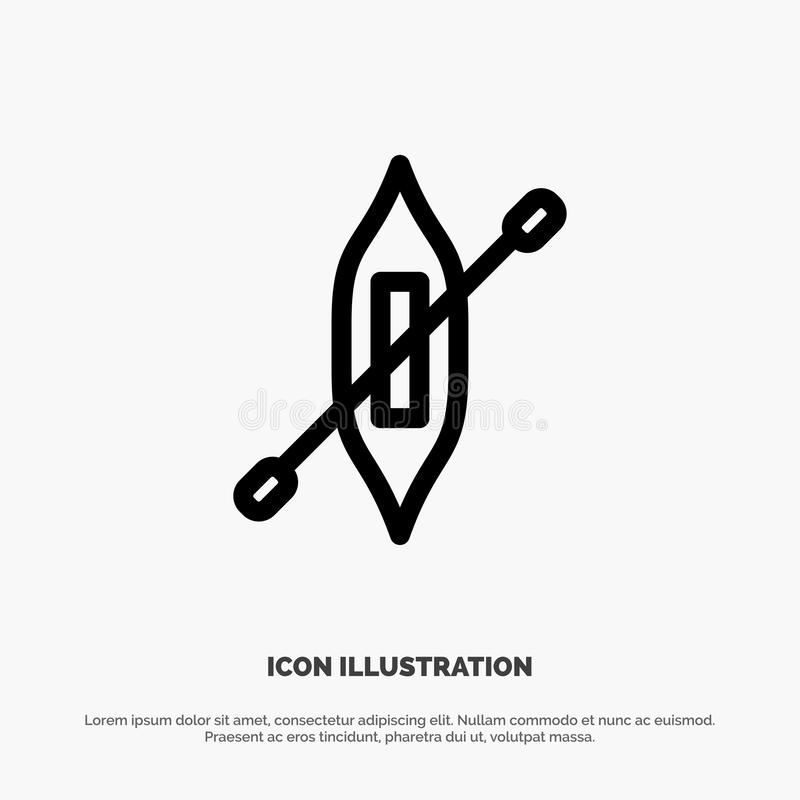 Łódź, czółno, kajak, statku wektoru linii ikona royalty ilustracja