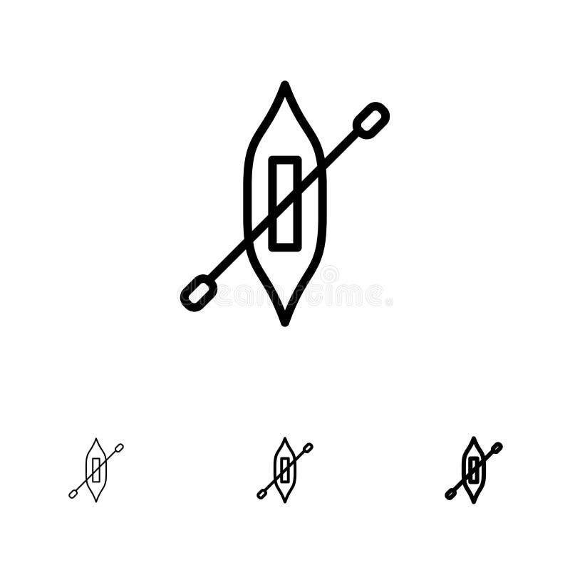Łódź, czółno, kajak, Wysyła Śmiałego i cienkiego czerni linii ikony set royalty ilustracja