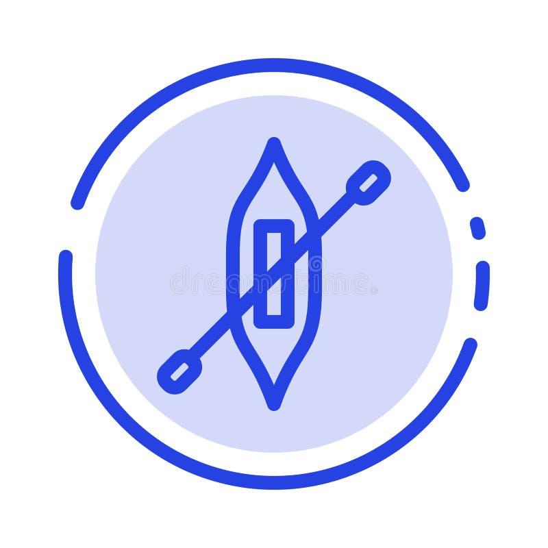 Łódź, czółno, kajak, Wysyła błękit Kropkującą linii linii ikonę royalty ilustracja